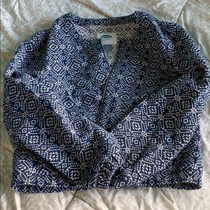 Blue textured jacket.